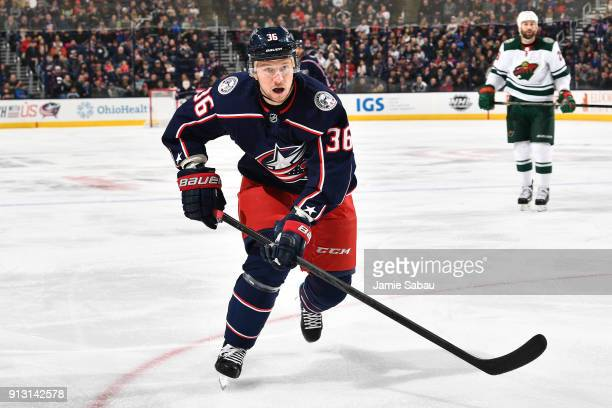 Jussi Jokinen of the Columbus Blue Jackets skates against the Minnesota Wild on January 30, 2018 at Nationwide Arena in Columbus, Ohio.