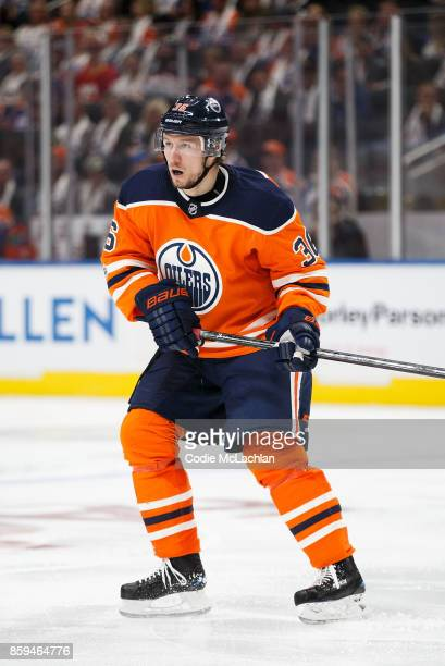 Jussi Jokinen of the Edmonton Oilers skates against the Calgary Flames at Rogers Place on October 4 2017 in Edmonton Canada