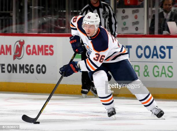 Jussi Jokinen of the Edmonton Oilers skates against the New Jersey Devils on November 9 2017 at Prudential Center in Newark New Jersey