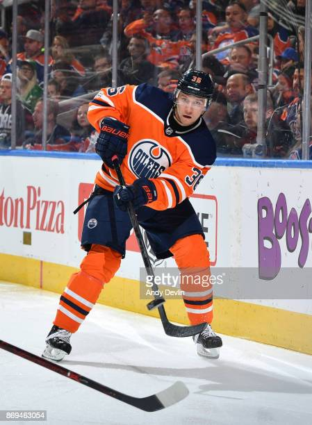 Jussi Jokinen of the Edmonton Oilers skates during the game against the Dallas Stars on October 26 2017 at Rogers Place in Edmonton Alberta Canada