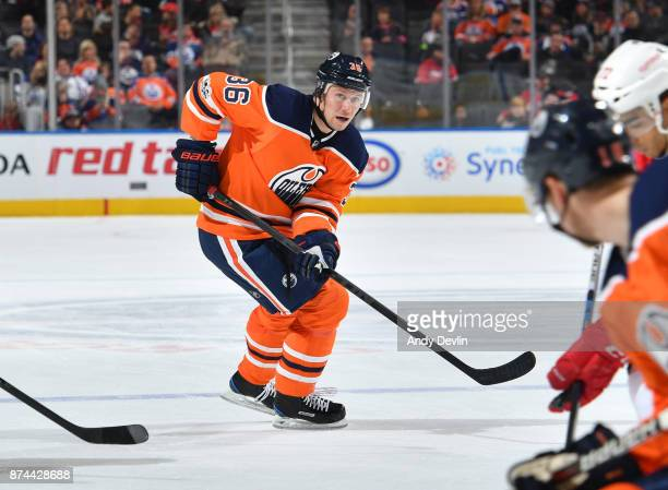 Jussi Jokinen of the Edmonton Oilers skates during the game against the Detroit Red Wings on November 5 2017 at Rogers Place in Edmonton Alberta...