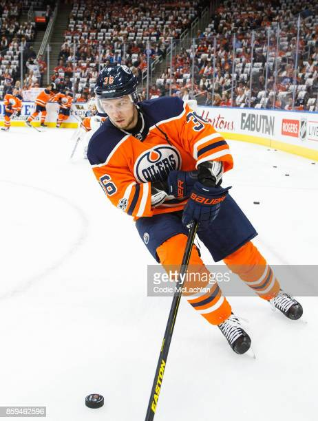 Jussi Jokinen of the Edmonton Oilers warms up against the Calgary Flames at Rogers Place on October 4 2017 in Edmonton Canada