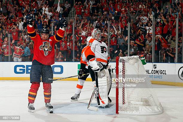 Jussi Jokinen of the Florida Panthers celebrates his goal against the Philadelphia Flyers at the BBT Center on October 10 2015 in Sunrise Florida