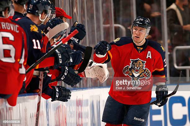 Jussi Jokinen of the Florida Panthers celebrates his goal with teammates against the New York Islanders at the BB&T Center on November 27, 2015 in...