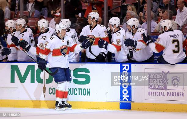 Jussi Jokinen of the Florida Panthers is congratulated after scoring a goal during a game against the Los Angeles Kings at BBT Center on February 9...