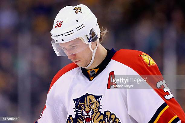 Jussi Jokinen of the Florida Panthers looks on during the third period against the Boston Bruins at TD Garden on March 24 2016 in Boston...