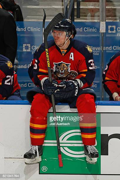 Jussi Jokinen of the Florida Panthers sits in front of the bench during a break in action against the New York Islanders in Game One of the Eastern...