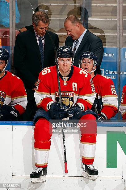 Jussi Jokinen of the Florida Panthers sits on the boards during a break in the action against the Philadelphia Flyers at the BBT Center on November...