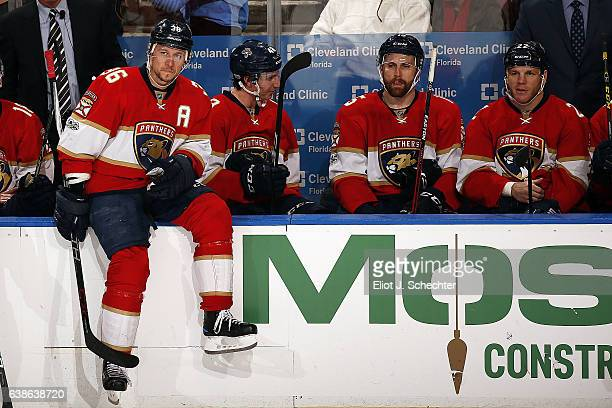 Jussi Jokinen of the Florida Panthers sits on the boards during a break in the action against the New York Islanders at the BBT Center on January 13...