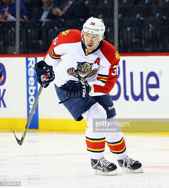 Jussi Jokinen of the Florida Panthers skates against the New York Islanders at the Barclays Center on March 14 2016 in the Brooklyn borough of New...