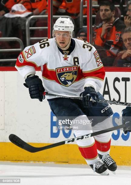 Jussi Jokinen of the Florida Panthers skates against the Philadelphia Flyers on March 2 2017 at the Wells Fargo Center in Philadelphia Pennsylvania