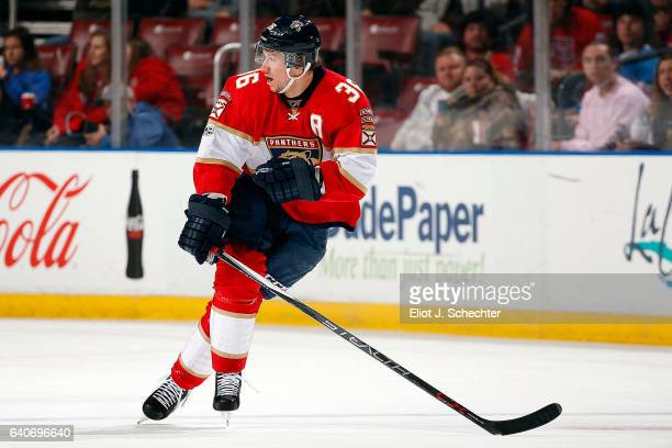 Jussi Jokinen of the Florida Panthers skates for position against the Ottawa Senators at the BBT Center on January 31 2017 in Sunrise Florida