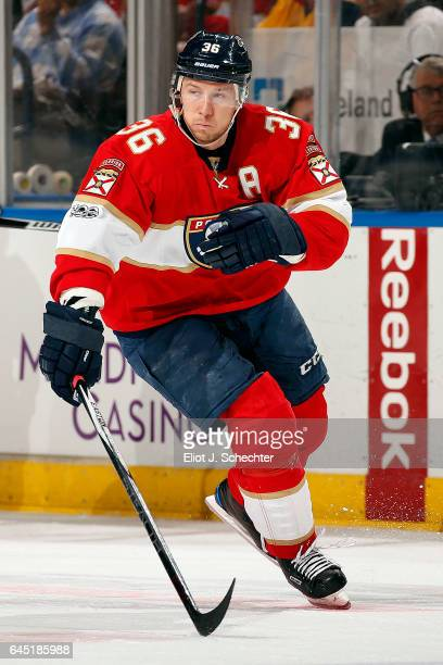 Jussi Jokinen of the Florida Panthers skates for position against the Edmonton Oilers at the BBT Center on February 22 2017 in Sunrise Florida