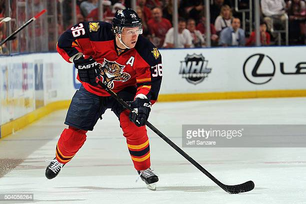 Jussi Jokinen of the Florida Panthers skates with the puck against the Montreal Canadiens at the BBT Center on December 29 2015 in Sunrise Florida