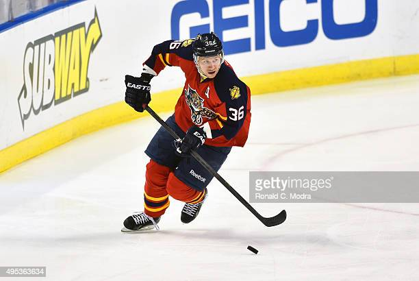 Jussi Jokinen of the Florida Panthers skates with the puck during a NHL game against the Colorado Avalanche at BBT Center on October 27 2015 in...
