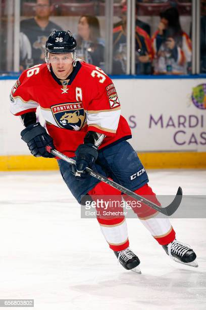 Jussi Jokinen of the Florida Panthers warms up on the ice prior to the start of the game against the Carolina Hurricanes at the BBT Center on March...