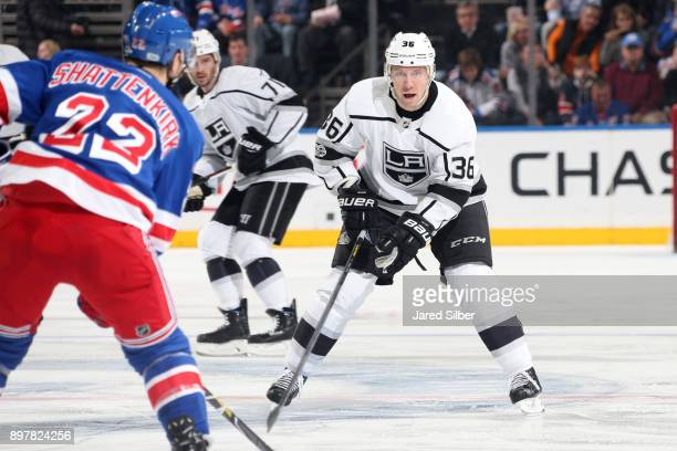 Jussi Jokinen of the Los Angeles Kings defends against Kevin Shattenkirk of the New York Rangers at Madison Square Garden on December 15 2017 in New...