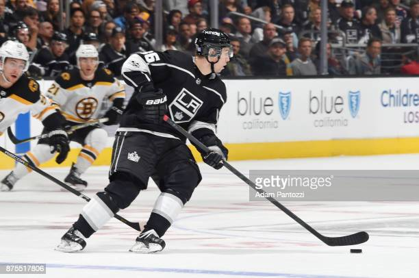 Jussi Jokinen of the Los Angeles Kings handles the puck during a game against the Boston Bruins at STAPLES Center on November 16 2017 in Los Angeles...