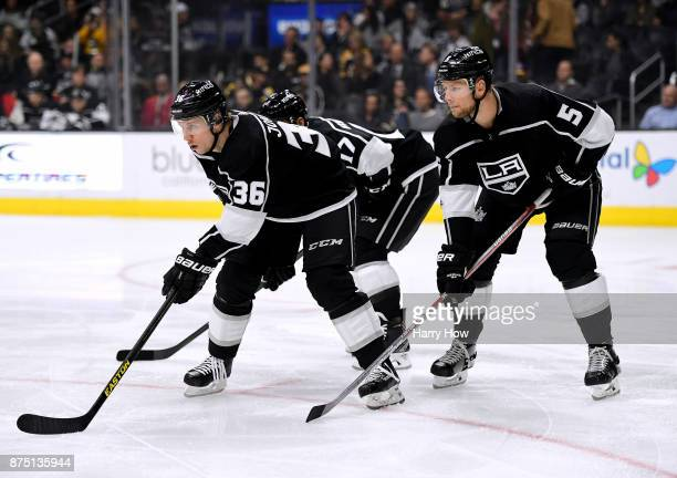 Jussi Jokinen of the Los Angeles Kings lines up for a faceoff in his first game as an Los Angeles Kings during the first period against the Boston...