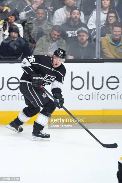 Jussi Jokinen of the Los Angeles Kings skates on ice during a game against the Boston Bruins at STAPLES Center on November 16 2017 in Los Angeles...