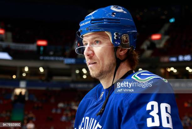 Jussi Jokinen of the Vancouver Canucks looks on from the bench during their NHL game against the Anaheim Ducks at Rogers Arena March 27 2018 in...