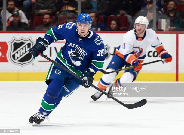 Jussi Jokinen of the Vancouver Canucks skates up ice during their NHL game against the New York Islanders at Rogers Arena March 5 2018 in Vancouver...