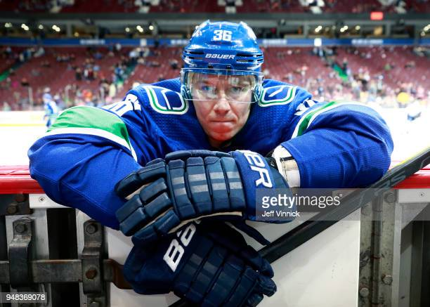Jussi Jokinen of the Vancouver Canucks stretches before their NHL game against the Edmonton Oilers at Rogers Arena March 29, 2018 in Vancouver,...