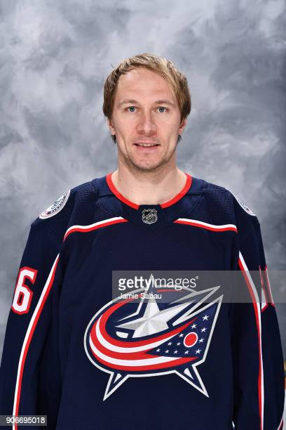Jussi Jokinen poses for his headshot as a new member of the Columbus Blue Jackets prior to a game against the Dallas Stars on January 18 2018 at...