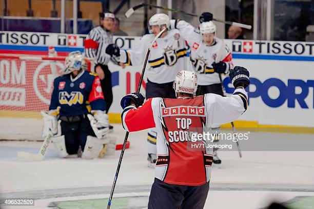 Jussi Makkonen of Espoo Blues score during the Champions Hockey League round of eight game between HV71 Jonkoping and Espoo Blues on November 10,...