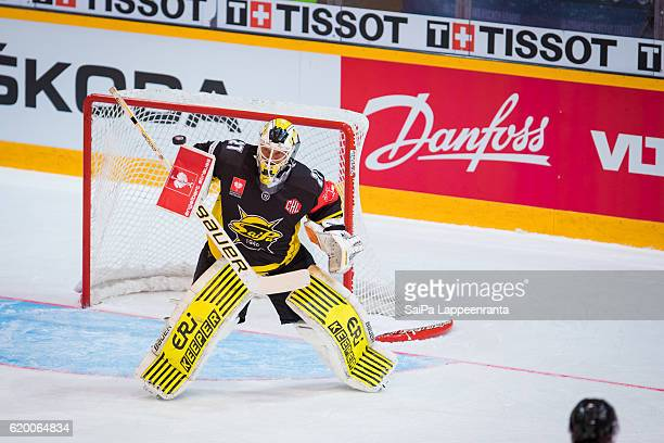 Jussi Markkanen of Lappeenranta during the Champions Hockey League Round of 16 match between SaiPa Lappeenranta and Vaxjo Lakers at Kisapuisto on...