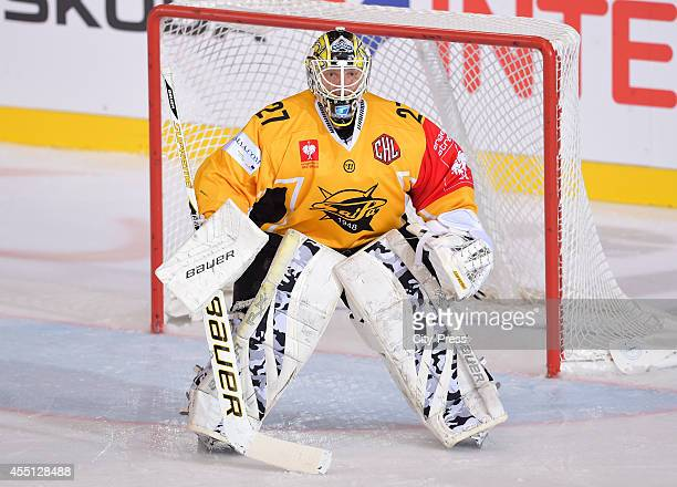 Jussi Markkanen of SaiPa Lappeenranta is concentrated during the Champions Hockey League game between ERC Ingolstadt and SaiPa Lappeenranta on august...