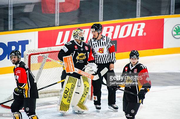 Jussi Markkanen of SaiPa reacts during the Champions Hockey League group stage game between SaiPa Lappeenranta and EV Zug on September 23, 2014 in...
