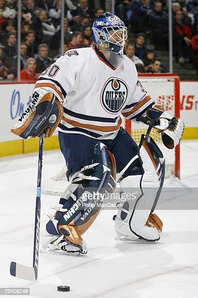 Jussi Markkanen of the Edmonton Oilers gathers the puck against the Ottawa Senators on February 20, 2007 at Scotiabank Place in Ottawa, Ontario,...