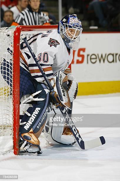 Jussi Markkanen of the Edmonton Oilers tends goal against the Ottawa Senators on February 20, 2007 at Scotiabank Place in Ottawa, Ontario, Canada....