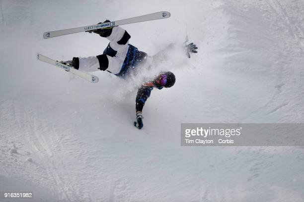 Jussi Penttala of Finland crash lands during the Freestyle Skiing Men's Moguls Qualification at Phoenix Snow Park on February 9 2018 in PyeongChang...