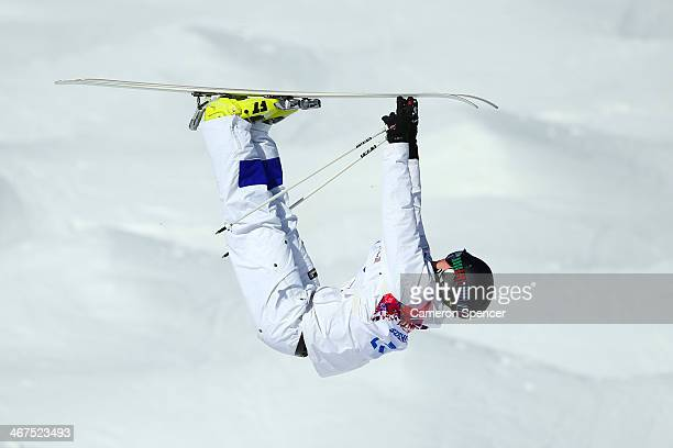 Jussi Penttala of Finland practices during the Men's and Ladies Moguls official training session ahead of the the Sochi 2014 Winter Olympics at Rosa...