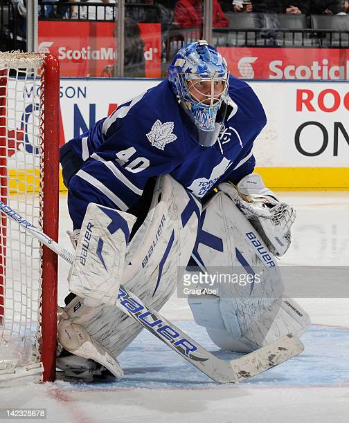 Jussi Rynnas of the Toronto Maple Leafs defends the goal during NHL game action against the Philadelphia Flyers March 29 2012 at the Air Canada...