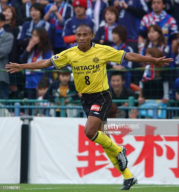 Jussie Ferreira Vieira of Kashiwa Reysol celebrates the first goal during the JLeague Division 1 first stage match between Kashiwa Reysol and...
