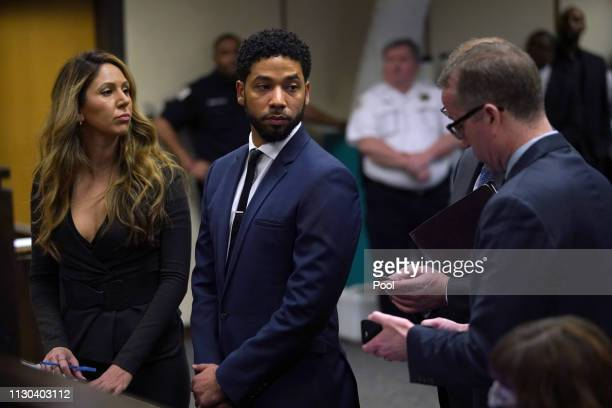 Jussie Smollet appears at a hearing for judge assignment with his attorney Tina Glandian, at Leighton Criminal Court Building, on March 14, 2019 in...