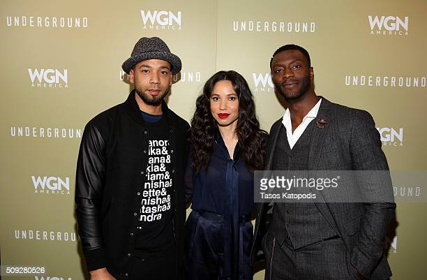 Jussie Smollett Aldis Hodge and Jurnee SmollettBell attends the Chicago screening of WGN America's new series Underground at The DuSable Museum of...
