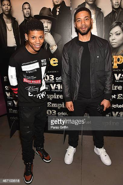 Jussie Smollett and Bryshere Gray attend V103 A Conversation With Jussie Smollett Bryshere Gray at Suite on March 20 2015 in Atlanta Georgia