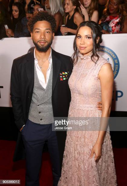 Jussie Smollett and Jurnee SmollettBell attend the 49th NAACP Image Awards at Pasadena Civic Auditorium on January 15 2018 in Pasadena California