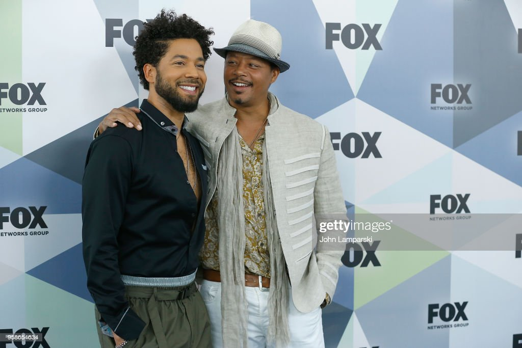 Jussie Smollett and Terrence Howard attend 2018 Fox Network Upfront at Wollman Rink, Central Park on May 14, 2018 in New York City.
