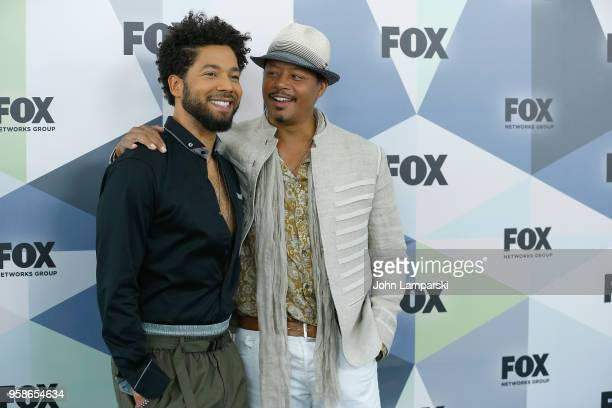 Jussie Smollett and Terrence Howard attend 2018 Fox Network Upfront at Wollman Rink Central Park on May 14 2018 in New York City