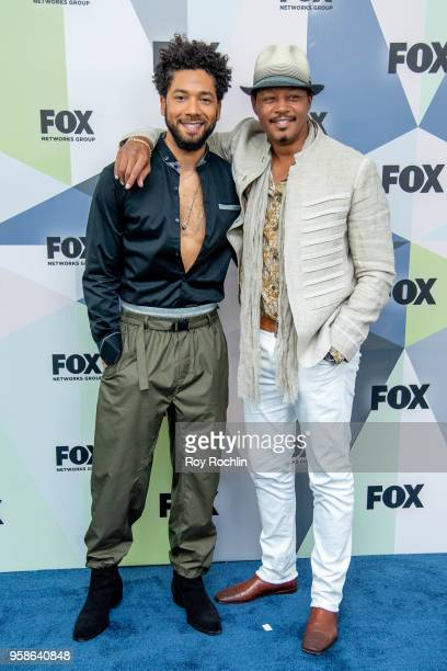 Jussie Smollett and Terrence Howard attends the 2018 Fox Network Upfront at Wollman Rink Central Park on May 14 2018 in New York City