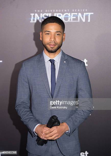 Jussie Smollett arrives at the The Divergent Series Insurgent New York premiere at Ziegfeld Theater on March 16 2015 in New York City