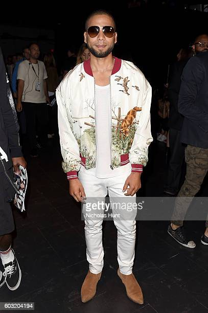 Jussie Smollett attends the Jeremy Scott fashion show during New York Fashion Week The Shows at The Arc Skylight at Moynihan Station on September 12...