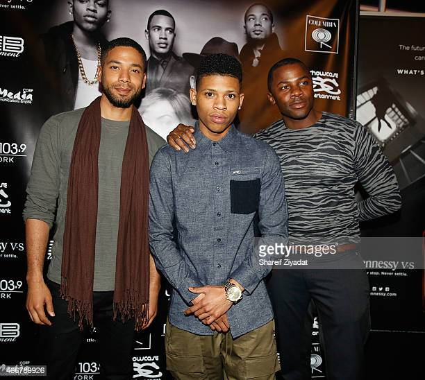 Jussie Smollett Bryshere Y Gray and Derek Luke attend the 'Empire' soundtrack party at Stage 48 on March 16 2015 in New York City