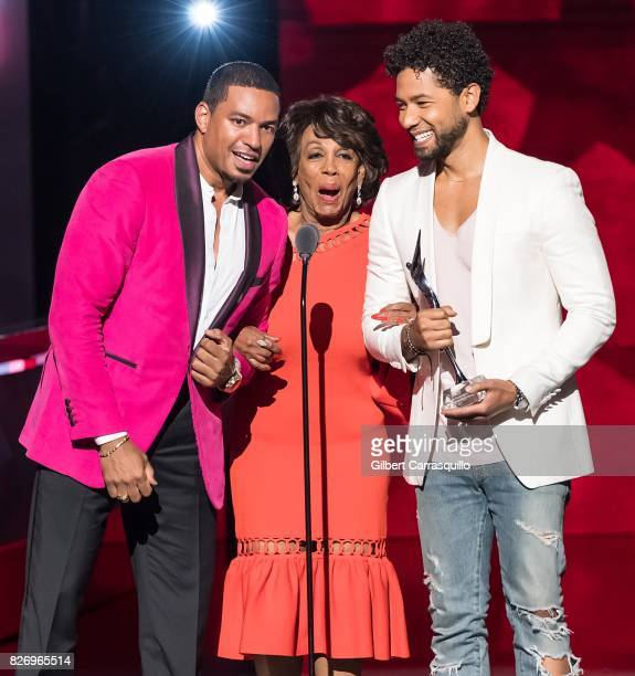 Jussie Smollett Laz Alonso and Honoree Congresswoman Maxine Waters accepts her award onstage during Black Girls Rock 2017 at New Jersey Performing...