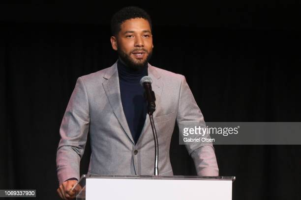 Jussie Smollett speaks at the Children's Defense Fund California's 28th Annual Beat The Odds Awards at Skirball Cultural Center on December 6 2018 in...